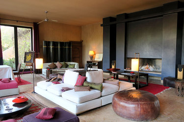 The main lounge at Dar Ahlam in Skoura, Morocco