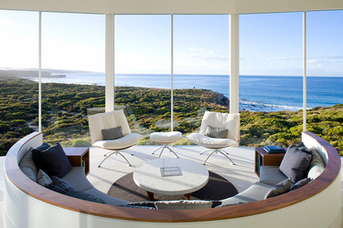The lounge of the Osprey Pavilion at Southern Ocean Lodge in Kangaroo Island, Australia