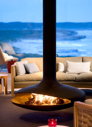 The fireplace in the great room at Southern Ocean Lodge in Kangaroo Island, Australia