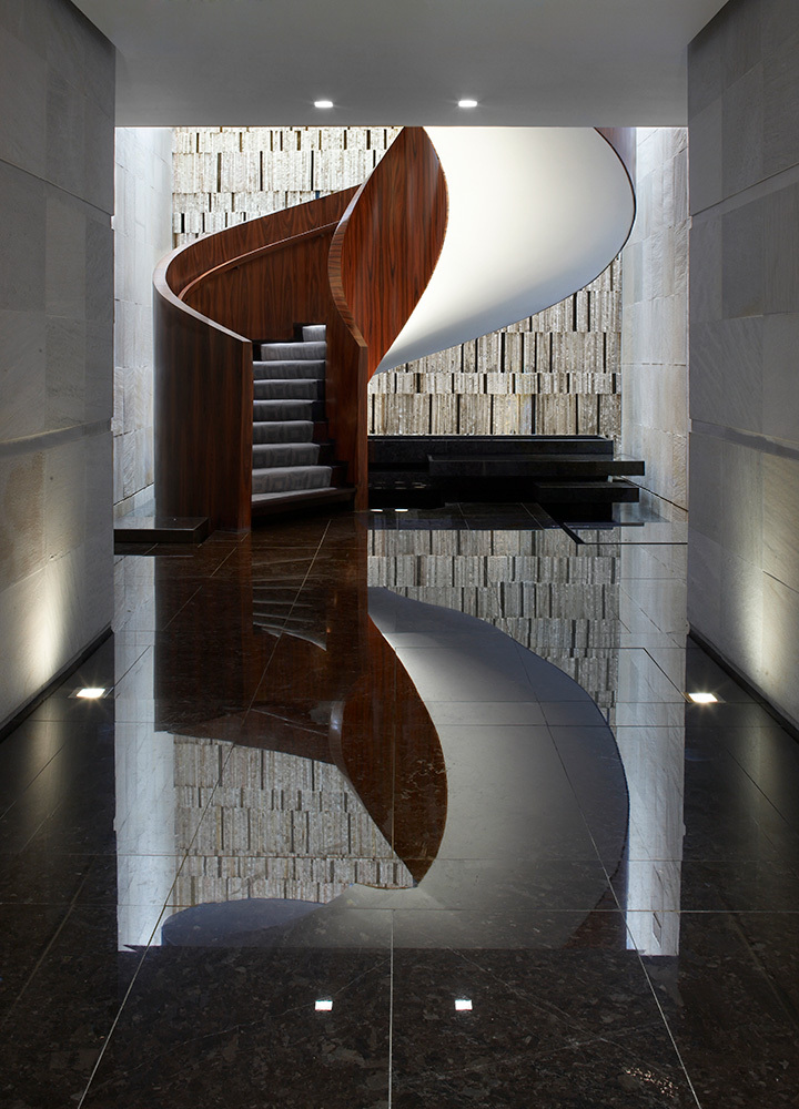 A staircase in the lobby at Las Alcobas in Mexico City, Mexico