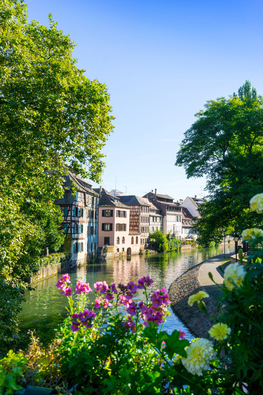 Canal through historic Strasbourg, France