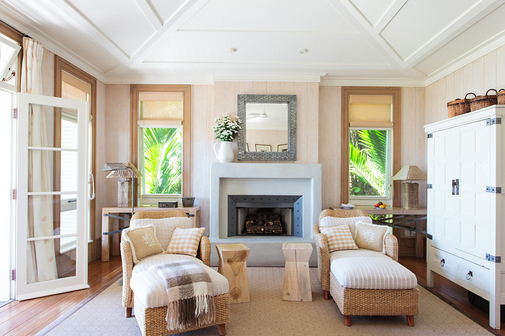 The sitting area of a suite at The Lodge at Kauri Cliffs in Matauri Bay, New Zealand