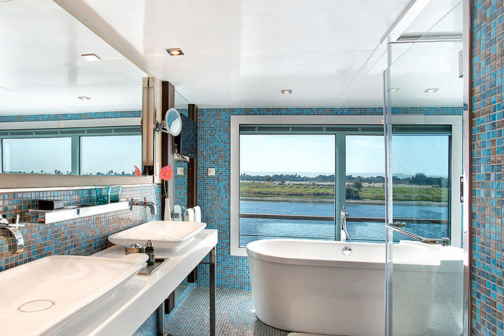 Luxury Suite bath on the Oberoi Philae Nile Cruise in Aswan, Egypt