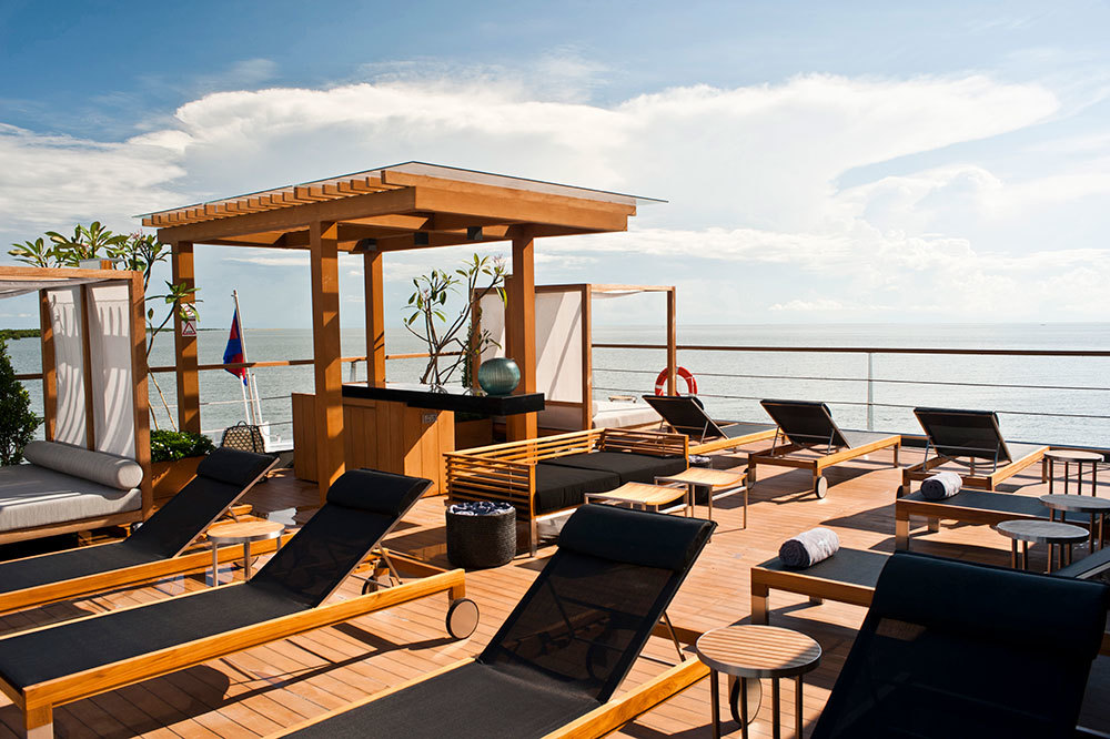 The sun deck on the Aqua Mekong in Cambodia