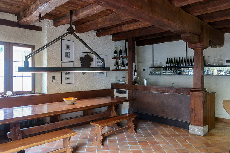The tasting room at Vins d'Alsace Rietsch in Mittelbergheim, France