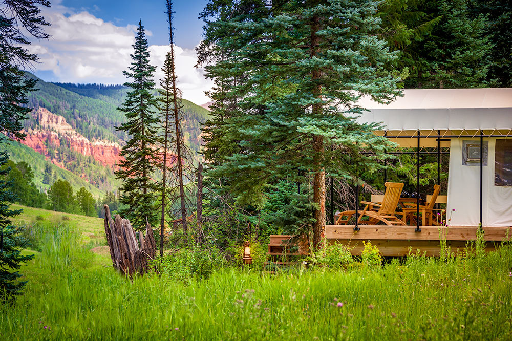 Scenic views from a River Tent at Dunton River Camp, Cresto Ranch in Dolores, Colorado