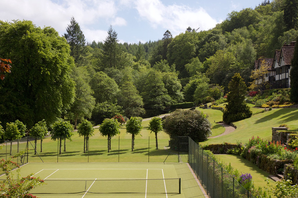 The tennis courts at Gidleigh Park in Chagford, Devon, England