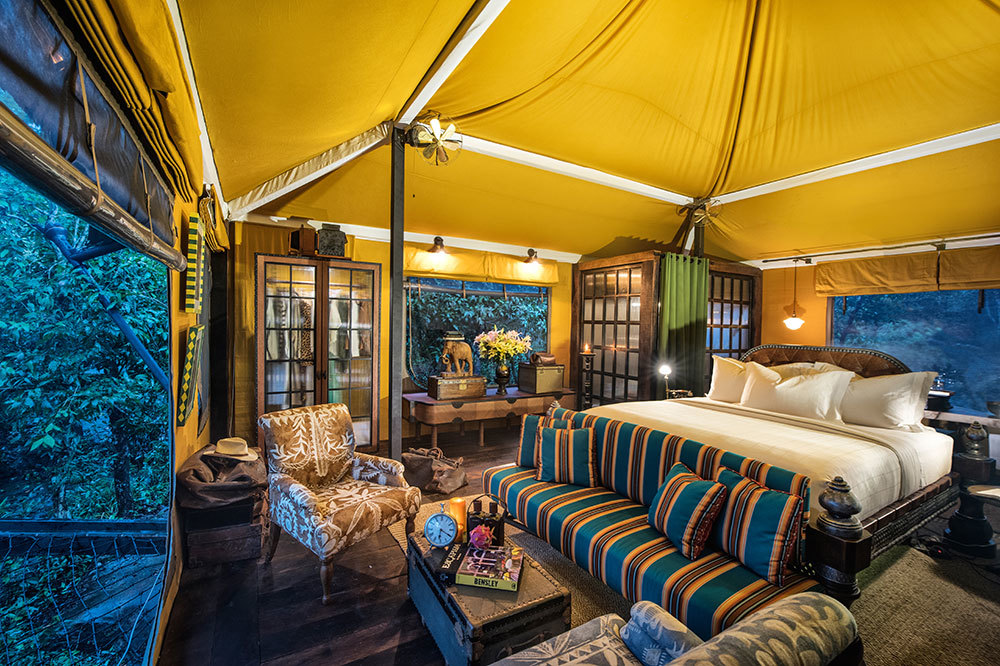 The interior of a tent at Shinta Mani Wild in Preah Sihanouk Province, Cambodia