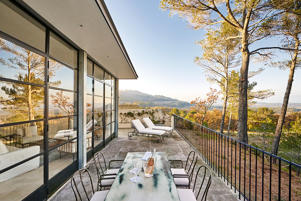 The private terrace off of the Pavillon Suite at Villa La Coste in Provence, France