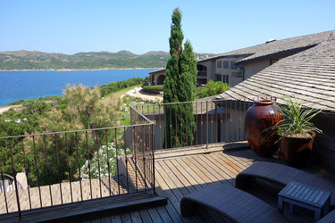 Private terrace with a jacuzzi at U Capu Biancu in Bonifacio, Corsica, France