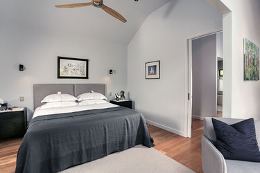 The bedroom in The Folly at Edenhouse in Nelson, New Zealand