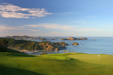 The 16th hole of the golf course at The Lodge at Kauri Cliffs in Matauri Bay, New Zealand