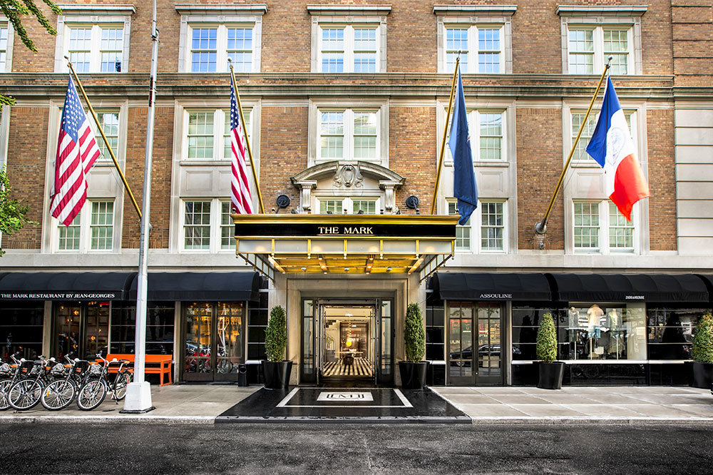 Street view of the hotel entrance at The Mark in Manhattan, New York