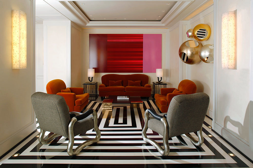 Lobby with modern furnishings at The Mark in Manhattan, New York