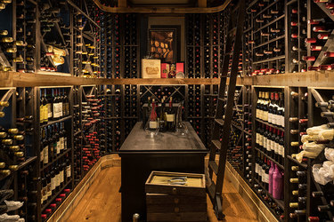 The wine room at The Narrows Steakhouse at the Shore Lodge in McCall Idaho.
