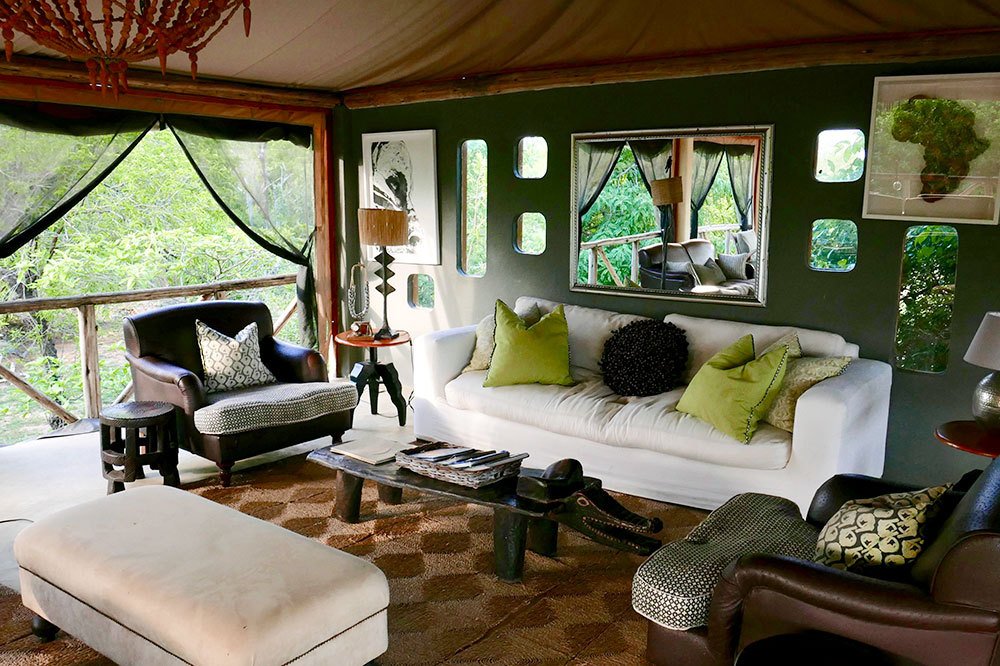 A seating area of the lodge at Azura Selous in the Selous Game Reserve, Tanzania