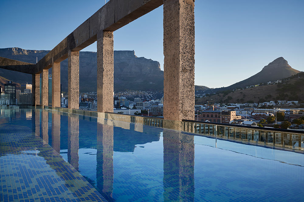 The rooftop pool at The Silo in Cape Town, South Africa