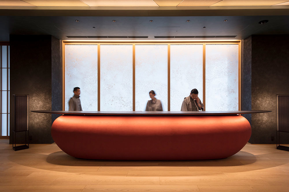 The reception desk at Hoshinoya in Tokyo, Japan