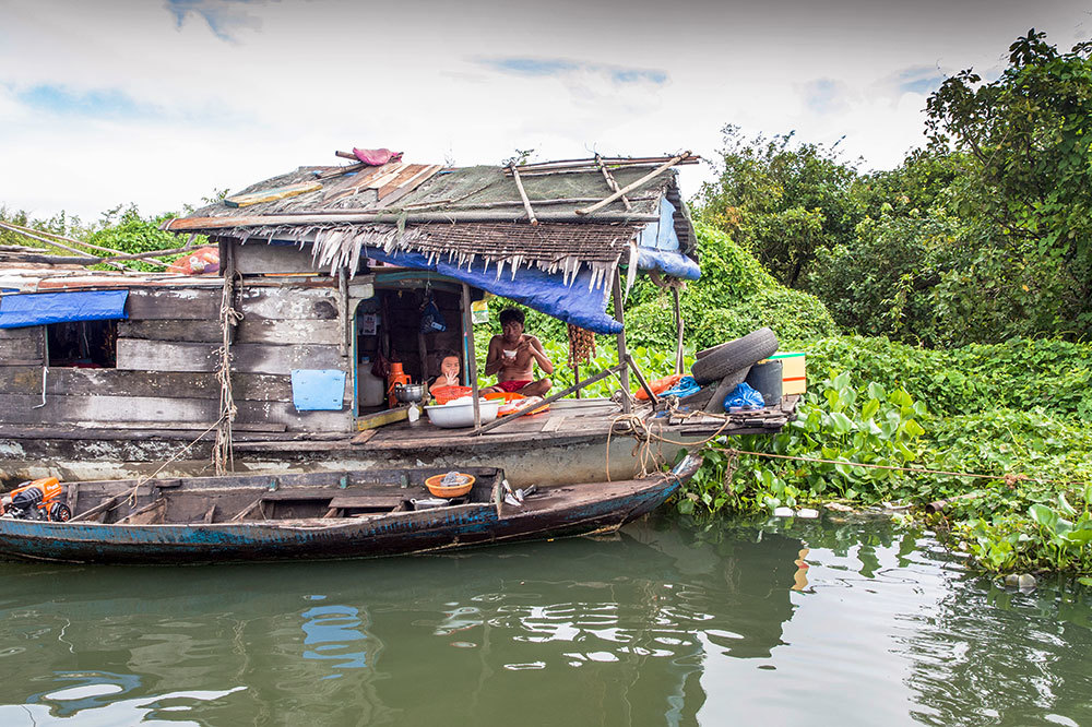 A floating house on the Tonle Sap Lake in Cambodia
