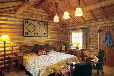 Interior view of a Traditional Cabin at Firehole Ranch in Western Yellowstone, Montana