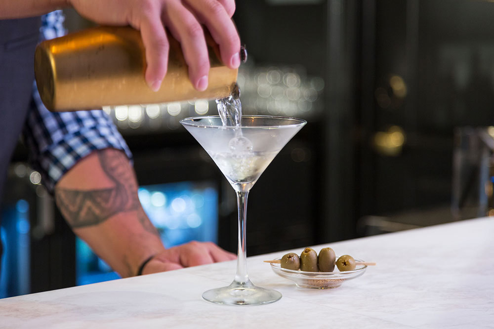 A traditional martini from The Bar at The Spectator Hotel in Charleston, South Carolina.