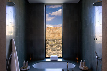 Bath view of desert  at Amangiri in Canyon Point, Utah