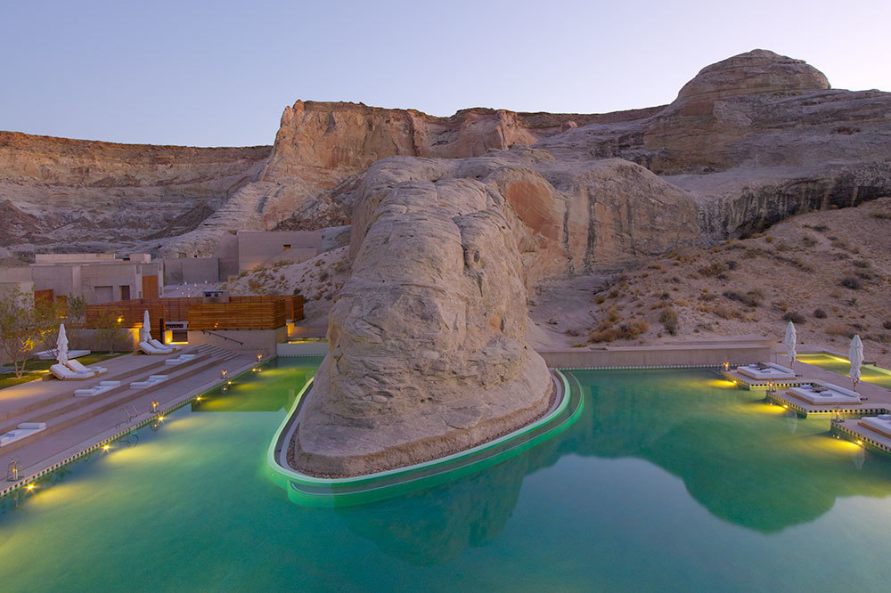 Outdoor Swimmingpool built into the landscape  at Amangiri in Canyon Point, Utah