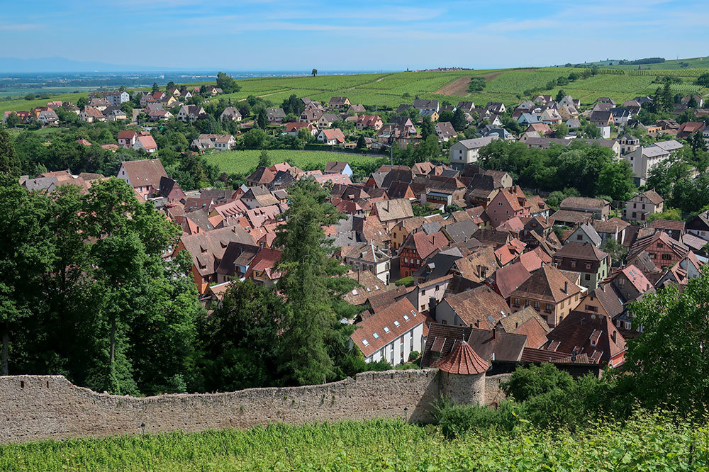 View of the town from Château de Saint-Ulrich in Ribeauvillé, France - Photo by Hideaway Report editor