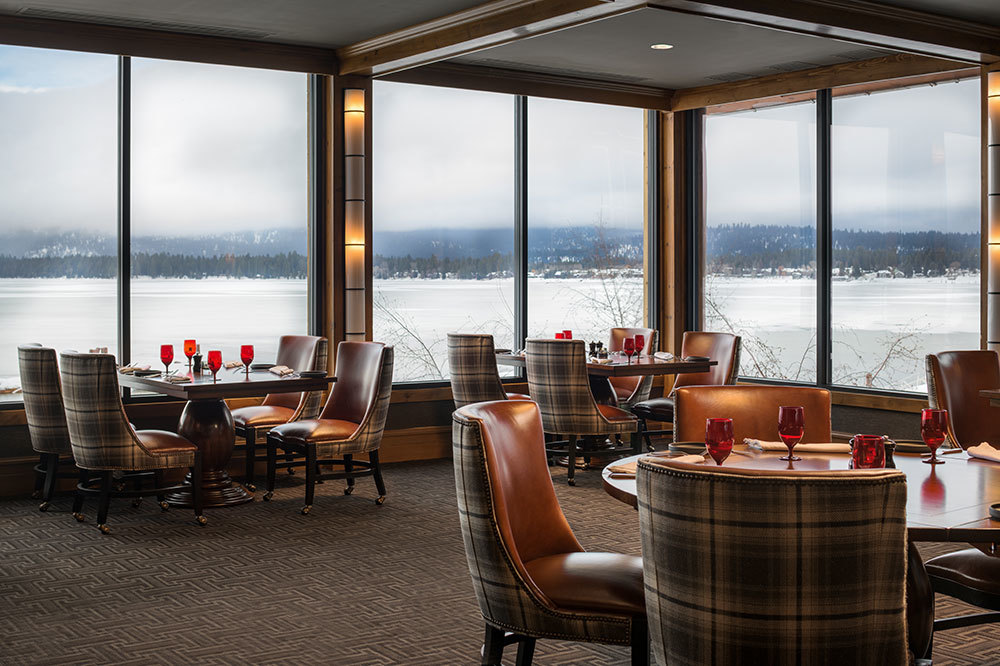 The dining room at the The Narrows Steakhouse at the Shore Lodge in McCall, Idaho.