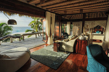 The interior of a Villa North Island room at North Island in Seychelles