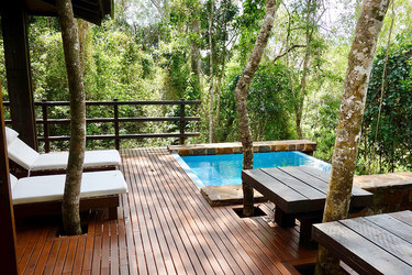 The private pool of a villa at Awasi Iguazú in Misiónes, Argentina