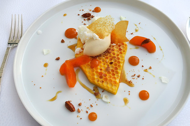 Honeycomb-shaped apricot mousse with apricot ice cream, almond-milk granite, fresh apricots and caramelized almonds from Courtier at Weissenhaus Grand Village Resort in Weissenhaus, Germany
