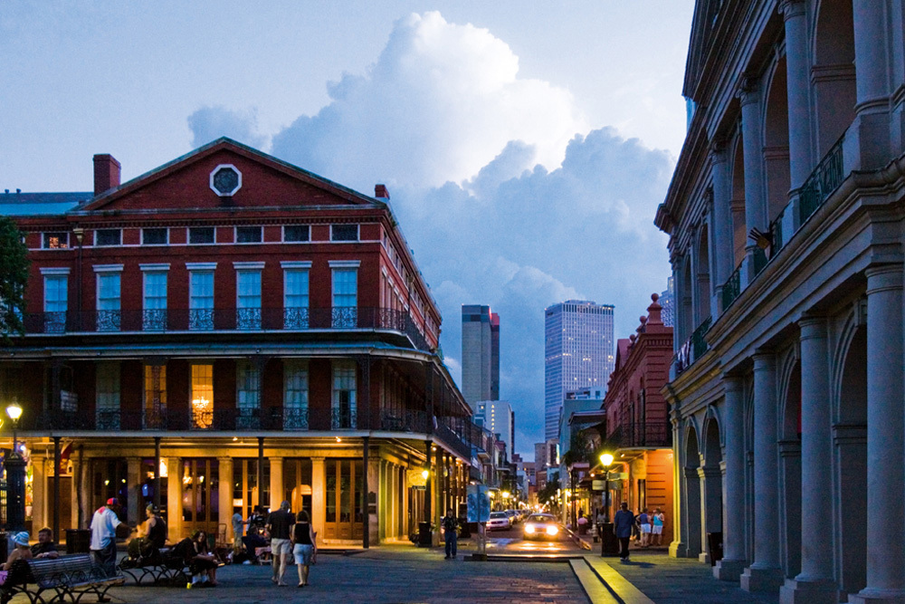 The French Quarter at dusk near the Windsor Court Hotel in New Orleans, Louisiana