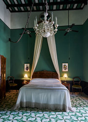 An old colonial suite at Mesón de Malleville on the Yucatán Peninsula in Mexico